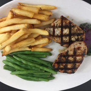 Grilled Fish Dinner with Green Beans and Fries