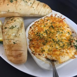 Cheesy Crab Dip with Toasted Baguette
