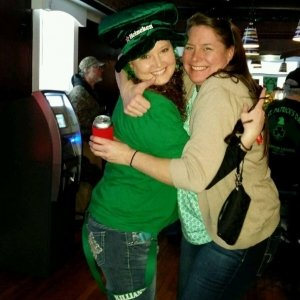 Two Women Hugging on St. Patrick's Day